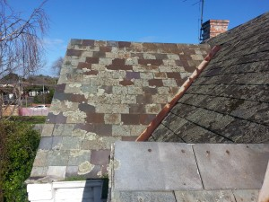 Soft roof slates replacement ... fading and suffering salt attack