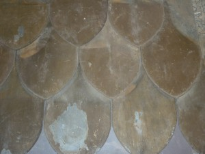 Old Melbourne slate roofing scallop shapes