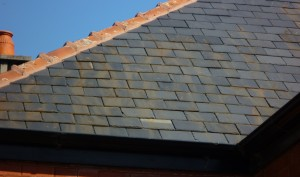 Rust stains on poor quality Spanish slate