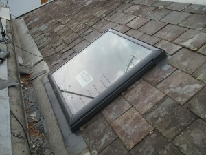 Victorian era home skylight installed in slated roof